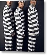 Three Prisoners. Group Of Men In Suits Of Convicts. Metal Print