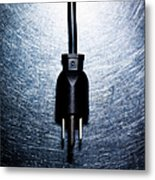 Three-pronged Electrical Plug On Stainless Steel. Metal Print
