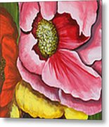 Three Strange Poppys Metal Print