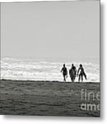 Three Swimmers With Surfing Boards Metal Print