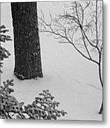 Three Trees In Snow Metal Print