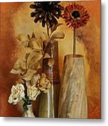 Three Vases Of Dried Flowers Metal Print by Marsha Heiken