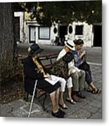 Three Women And The Man Metal Print
