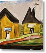 Three Yellow Houses With Picture Windows Metal Print