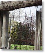 Through The Eye Of The Stick Wood Fence Metal Print