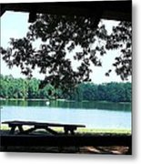 Through The Pavilion At Trap Pond State Park Delaware  Metal Print
