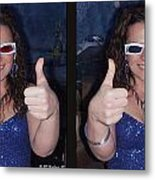 Thumbs Up - Gently Cross Your Eyes And Focus On The Middle Image Metal Print