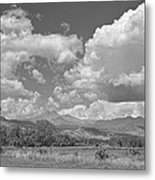 Thunderstorm Clouds Boiling Over The Colorado Rocky Mountains Bw Metal Print