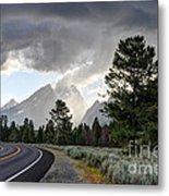 Thunderstorm On Grand Teton Road Metal Print