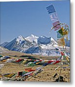 Tibetan Buddhist Prayer Flags Atop Pass Metal Print by Gordon Wiltsie