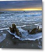 Tides At Driftwood Beach Metal Print