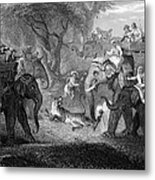 Tiger Hunt, 19th Century Metal Print