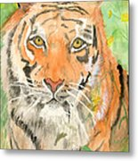 Tiger In The Meadow Metal Print by Delores Swanson