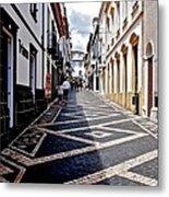 Tiled Street Of Ponta Delgada Metal Print