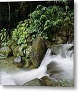 Time Exposure Of A Little Brook Flowing Metal Print