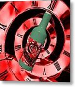 Time In A Bottle Red Metal Print