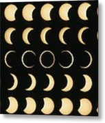 Time-lapse Image Of A Solar Eclipse Metal Print