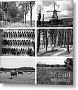Timeless Brabant Collage - Black And White Metal Print