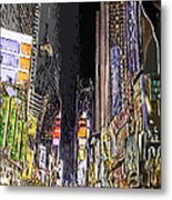Times Square Abstract Metal Print by Robert Ponzoni