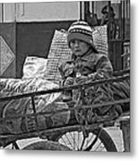 Tiny Biker 2 Monochrome Metal Print