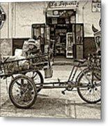 Tiny Biker Sepia Metal Print