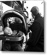 Tired Child Sleeping In Baby Stroller With Dad Metal Print