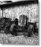 Tired Tractors Bw Metal Print