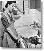Tired Woman At Kitchen Sink, (b&w), Elevated View Metal Print