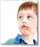 Toddler Eating Chocolate Metal Print by Tom Gowanlock