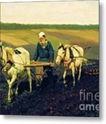 Tolstoy In The Ploughland Metal Print