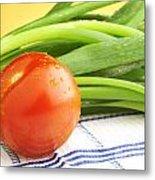 Tomato And Green Onions Metal Print