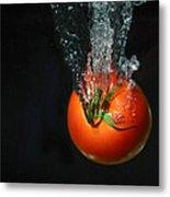 Tomato Falling Into Water Metal Print