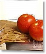 Tomatoes Pasta And Knife Metal Print