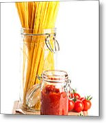 Tomatoes Sauce And  Spaghetti Pasta  Metal Print by Amanda Elwell