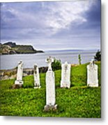 Tombstones Near Atlantic Coast In Newfoundland Metal Print by Elena Elisseeva