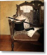 Top Hat And Cane On Sofa Metal Print
