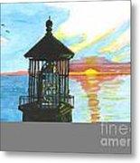 Top Of A Lighthouse At Sunset Metal Print