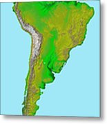 Topographic View Of South America Metal Print