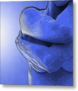 Topographical Nude In Blue Metal Print