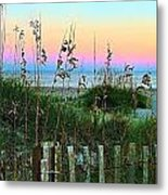 Topsail Island Dunes And Sand Fence Metal Print
