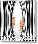 Torn Bar Code Metal Print by Carlos Caetano