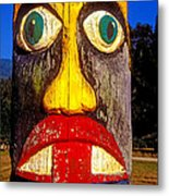Totem Pole With Tongue Sticking Out Metal Print