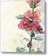 Touch Of Summer Hollyhocks Watercolor Metal Print