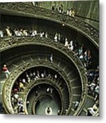 Tourists Descend The Double Spiral Metal Print