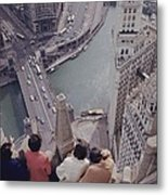 Tourists Looking Down On The Chicago Metal Print