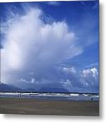 Tourists On The Beach, Inch Beach Metal Print