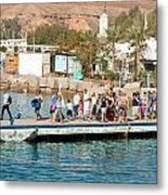 Tourists Waiting To Climb Onto Dive And Snorkeling Boats At Sharm El Sheikh Metal Print