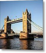 Tower Bridge And Helicopter Metal Print