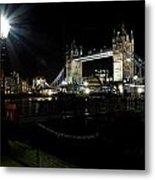 Tower Bridge And Riverside Night View  Metal Print