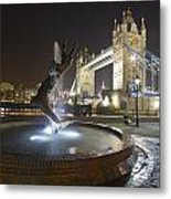 Tower Bridge Girl With A Dolphin Metal Print